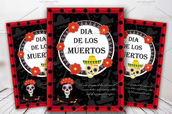 Day Of The Dead Flyer Poster Invitation Dia De Muertos Template Card For Your Design Holiday In Mexico Concept Vector Illustration