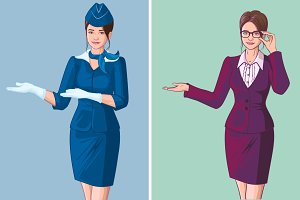 Young woman stewardess and teacher