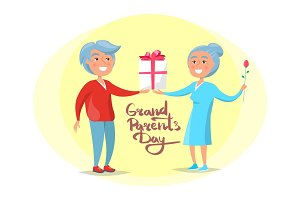 Grandparents Day Senior Couple Give Present Vector