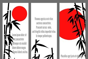 Japanese bamboo tree cards design