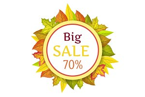 Big Autumn Sale Vector Concept in Flat Design
