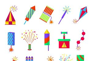 Pyrotechnics burning firework icons