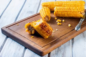 Pieces grilled corn