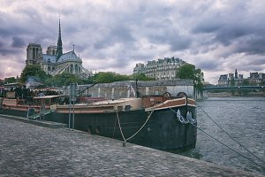 Barge on the River Seine in Paris