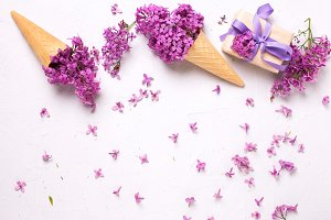 Lilac flowers in waffle cones