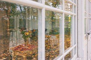 Veranda of summer house in autumn
