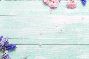 Frame from pink and blue flowers