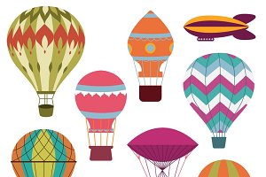 Retro hot air balloons set
