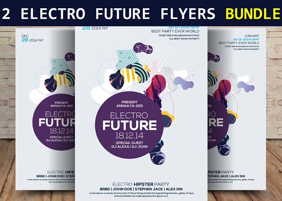 2 Electro Future Party Flyers Bundle