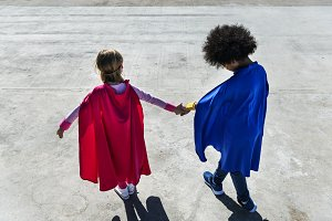 Cheerful superhero kids