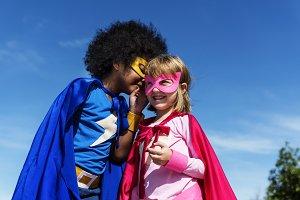 Cheerful superhero kids