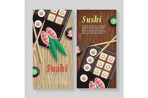 Japanese Food Illustration web Banner. Japan Sushi