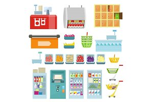 Set of Trading Equipment for Supermarket Vector.