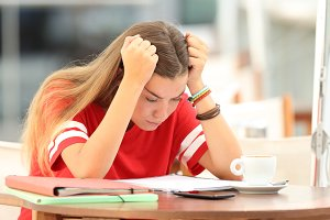 Frustrated student girl