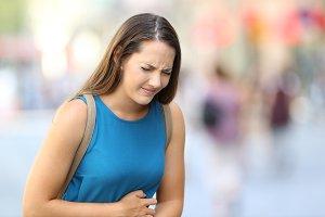 Woman suffering belly ache