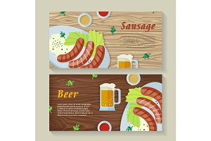 Sausage and Beer Web Banners in Flat Design