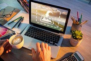 Man Using Laptop And Coffee Mockup