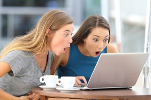 Friends watching scandalous content