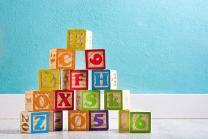 Baby wooden cubes with letters