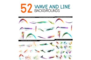 Mega collection of color blurred waves and straight lines pattern design elements
