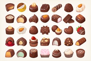 Set of delicious chocolate sweets