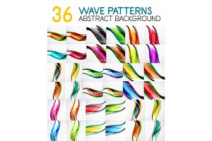 Mega collection of wave lines with glossy effects