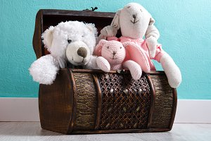 Teddy bears in a chest