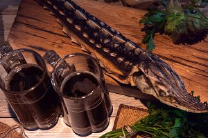 dried sturgeon with dark beer