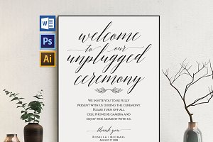 Unplugged wedding sign Wpc356