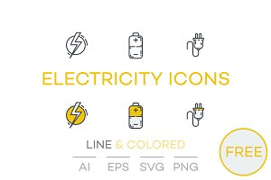 FREE: Electricity Icons Line&Colored