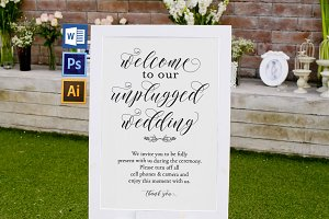 Unplugged wedding sign Wpc357