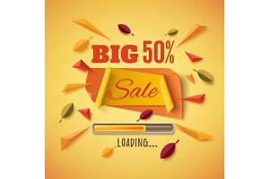 Big sale banner with abstract leafs.