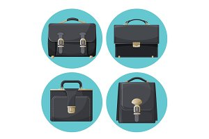 Collection of briefcases businessman accessories vector illustrations
