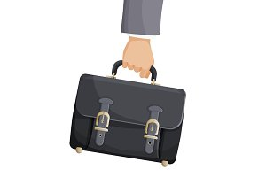 Briefcase in businessman hand vector illustration isolated on white background