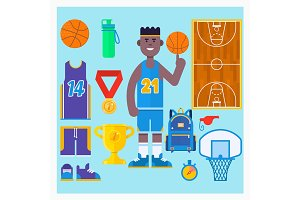 Basketball player and basketball icon set.Simple basketball vector elements. Vector illustration