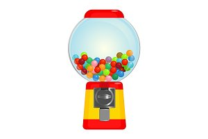 Sphere gumball machine container with sweet candies vector illustration