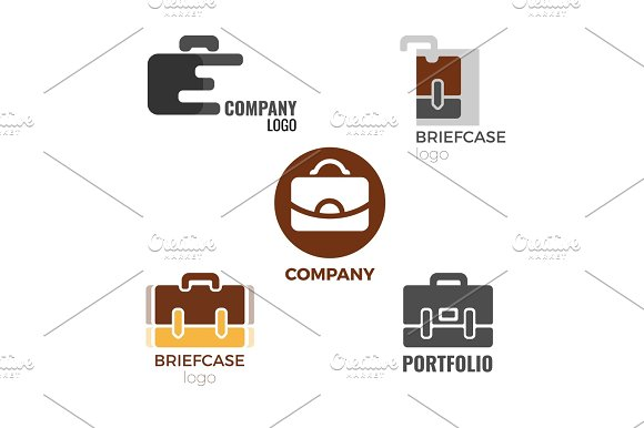 Briefcase logos collection of illustrations on white background