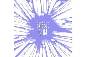 Bubble gum purple background with burst of chewing candy