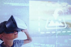Boy Using VR Headset Mockup