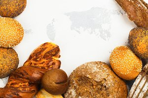 Variety of fresh bread on the table