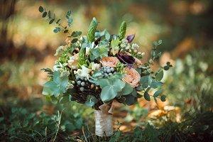 Bride's Bouquet on Green Grass