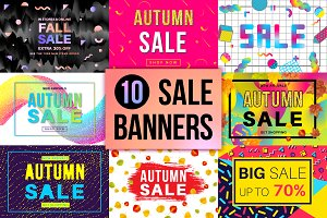 10 Autumn Sale Banners Set