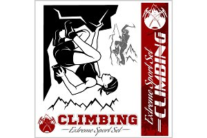 Mountain climbing illustration and logos, emblems, silhouettes, design elements.
