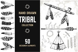 Tribal graphics. Hand Drawn design.
