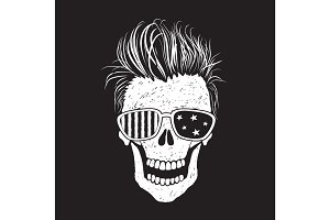 Modern american skull like a USA flag