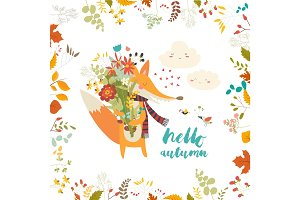 Lovely autumn card with a fox and flowers