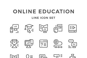 Set line icons of online education