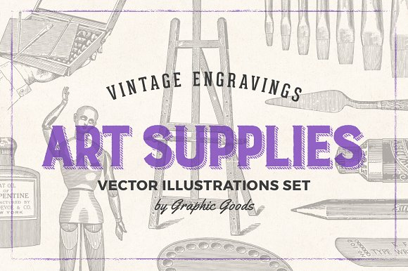 Art Supplies Vintage Illustrations