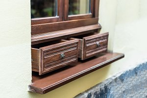 Window decorated with drawers