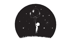 Little boy fly with balloons